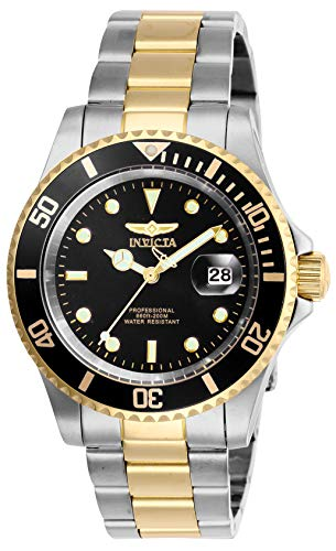 Invicta Men's Pro Diver Quartz Watch with Stainless Steel Strap, Two Tone, 20 (Model: 26973) (Black Stainless Steel Mens Watch)