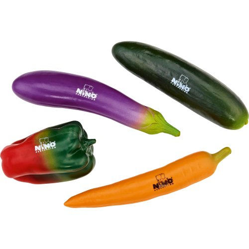 Nino Percussion NINOSET101 Imitation Vegetable Shaker Assortment Set, 4 Pieces (VIDEO)