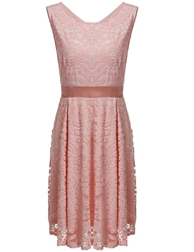Meaneor Women's Vintage Floral Lace Sleeveless Round Neck Cocktail Formal Swing Dress Pink XXL (Womens Cocktail Dress Pink)