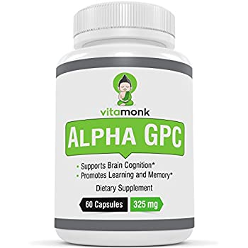 VitaMonk™ Alpha GPC Capsules - The #1 Bioavailable Choline Supplement To Support Brain Cognition - 60 Alpha-GPC 325mg Capsules