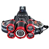 5LED XML T6 Headlight 20000 Lumens 4Mode Zoomable Headlamp Rechargeable Head Lamp Flashlight+218650 Battery+AC/DC Charger