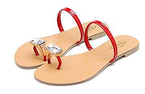 Women Rhinestone Flat Slides Open Beach Ring On 6 Shoes Toe Summer Slip Toe YFF Flops Flip Sandals xYwTdqppI