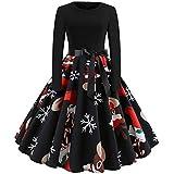 Christmas Dresses, Women Long Sleeve Printed Tunic Dress Casual Button Down Midi Dress with Pocket Rakkiss