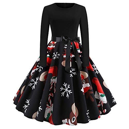 Christmas Women's Vintage Print Dress Duseedik Long Sleeve Christmas Evening Party Swing Dress -