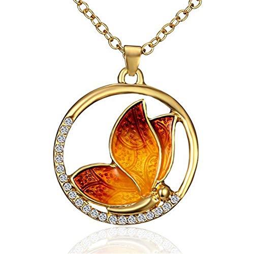 JczR.Y Shiny Rhinestone Crystal Round Butterfly Pendant Necklace for Women Fashion Jewelry (Red Orange)