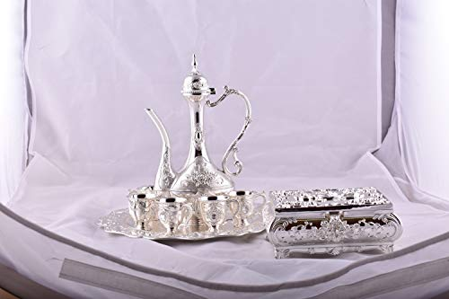 SILVER TURKISH COFFEE POT SET of 9 by ELTAHAN (Image #1)