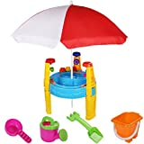 Costzon Kids Sand and Water Table Beach Play Set with Umbrella & Accessories