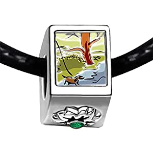 Chicforest Silver Plated Autumn Creek River Photo Emerald Green Crystal May Birthstone Flower Charm Beads Fits Pandora Bracelets