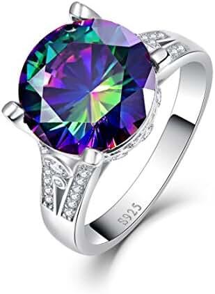 Merthus 925 Sterling Silver 10.75 cttw Mystic Rainbow Topaz Ring
