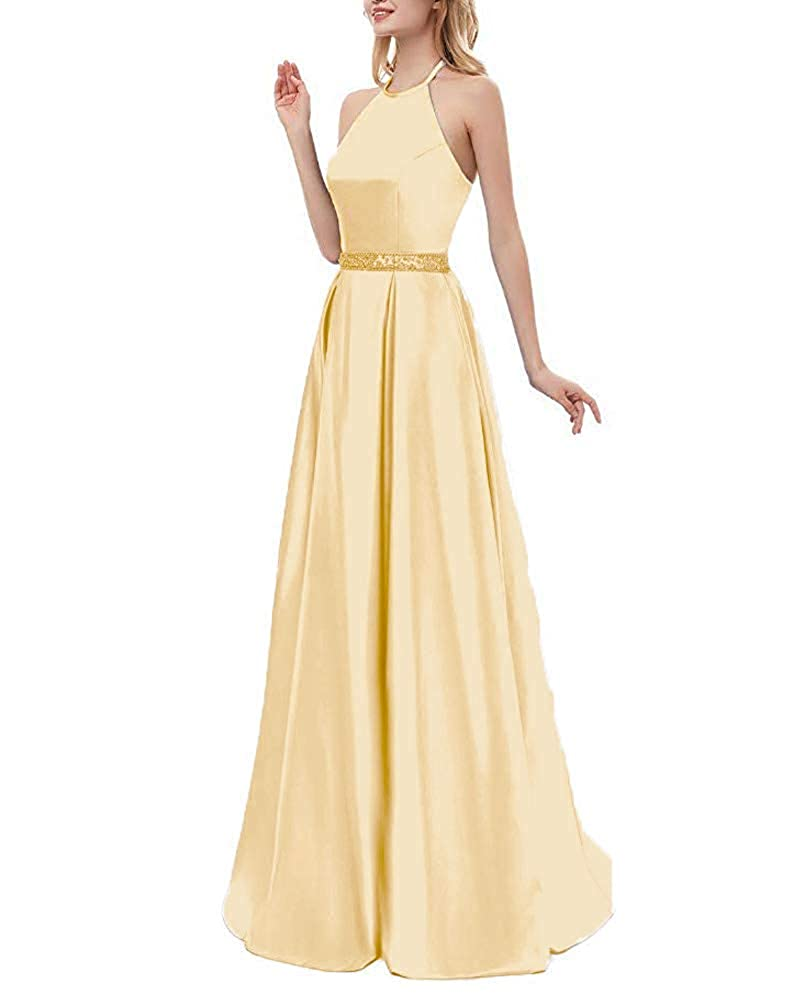 Champagne Beaded ZLQQ Womens Halter Beaded Prom Dress Long with Pockets Slit Beach Wedding Evening Gowns