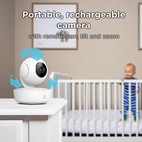 "41m1FilQs L - Motorola Video Baby Monitor 5"" Color Parent Unit, Remote Pan/Tilt/Zoom, Portable Rechargeable Camera, Two-Way Audio, Night Vision, 5 Lullabies, MBP36XL"