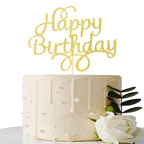 Happy Birthday Cake Topper - Gold Glitter First Birthday Party Decorations - Birthday Party Decorations for Adult/Children / Boys/Girls