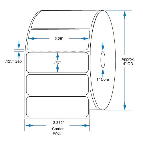 Perf Thermal Transfer Labels - 800222-075 Compatible 2.25 inch x .75 inch with perf Thermal Transfer Labels to fit Eltron or Zebra Printers
