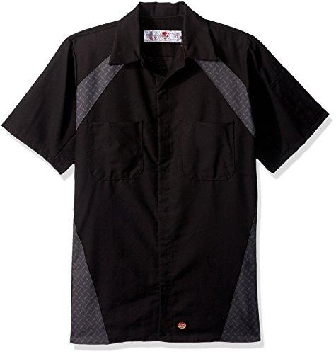 Black Short Sleeve Work Shirt (Red Kap Men's Diamond Plate Short-Sleeve Work Shirt, Black, Large)