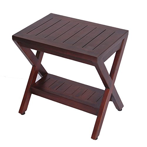 Teak Deck Plantation (Obliquity Teak Shower Bench with Shelf- FULLY ASSSEMBLED- Shower, Bath)