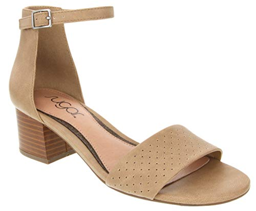 Sugar Women's Noelle Low Two Piece Block Heel Dress Shoe Ladies Ankle Strap Pump Sandal Taupe Pin Perf 8.5