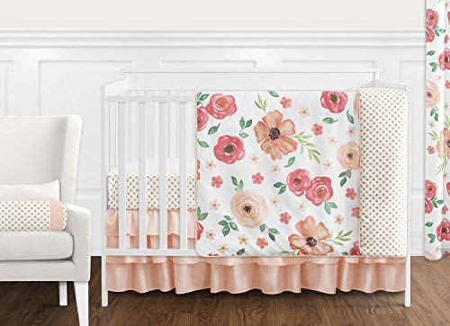 Sweet JoJo Designs Peach and Green Shabby Chic Watercolor Floral Baby Girl Crib Bedding Set Without Bumper - 11 Pieces - Pink Rose Flower Polka Dot [並行輸入品]   B07J5K52G9