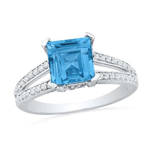 Blue Topaz 10kt Ring - 10KT White Gold Princess Blue Topaz and Round Diamond Engagement Ring
