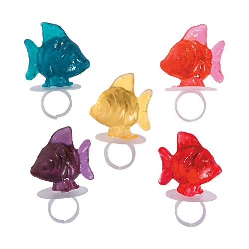 Fun Express - Tropical Fish Ring Suckers - Edibles - Sucker & Pop - Ring & Pacifier Suckers - 12 Pieces -