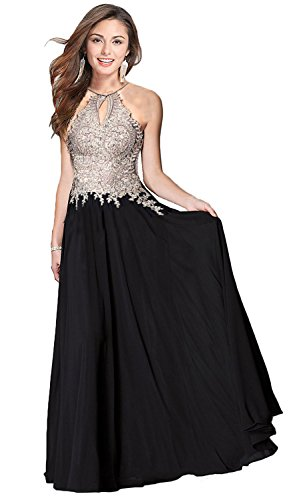 Butmoon Women's Halter Neck A line Appliques Long Prom Evening Dresses