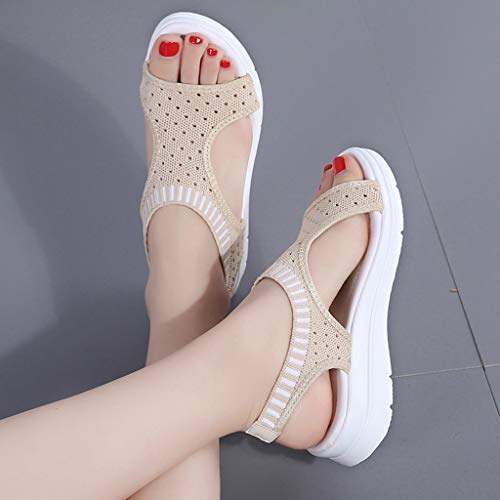 CCOOfhhc Women's Flat Sandals Comfy Platform Sandal Shoes Summer Beach Travel Shoes Non-Slip Casual Shoes Beige by CCOOfhhc (Image #3)