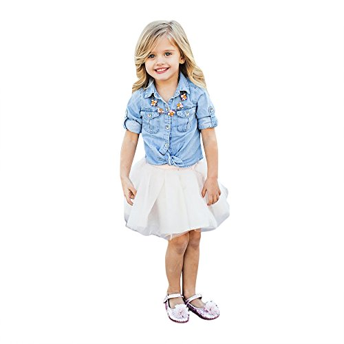 Tantisy ♣↭♣ Family Matching Outfits ✿ Mommy and Girl Denim Jacket T Shirt Tops+Lace Net Yarn Fairy Skirt Parent-Child Dress ()
