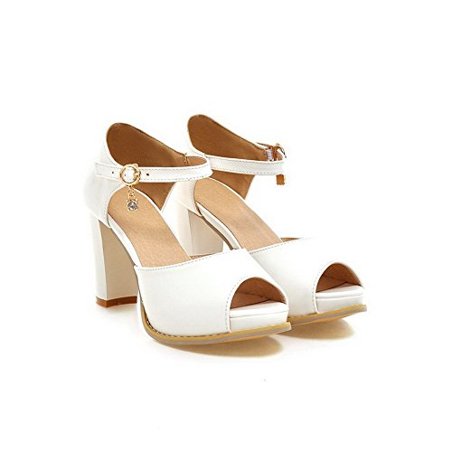 Buckle AgooLar Solid Peep White High Toe Sandals Women's Heels nZg7AP