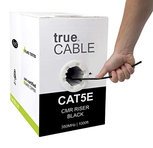 (Cat5e Riser (CMR), 1000ft, Black, 24AWG 4 Pair Solid Bare Copper, 350MHz, ETL Listed, Unshielded Twisted Pair (UTP), Bulk Ethernet Cable, trueCABLE)