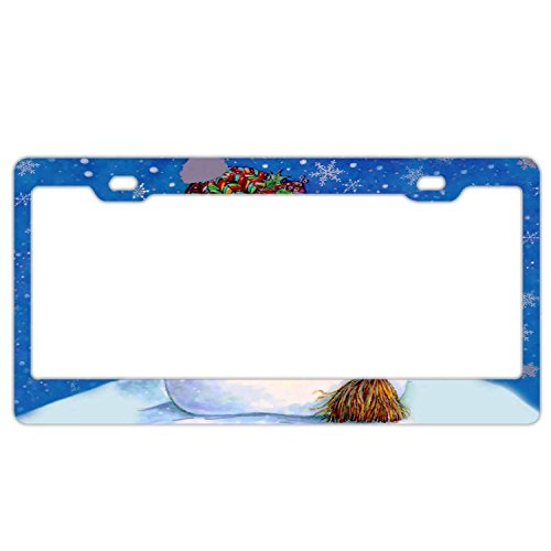 Christmas Snowman License Plate Frame Stainless Steel Metal, Car Tag Cover,License Plate Frame for Women, License Plate Covers for US]()