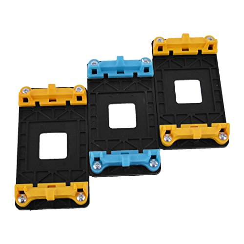 uxcell CPU Fan Mount Bracket Holder Base 3pcs Yellow Blue for AMD AM2 AM2+ AM3 AM3+ FM1 (Mount Heatsink)