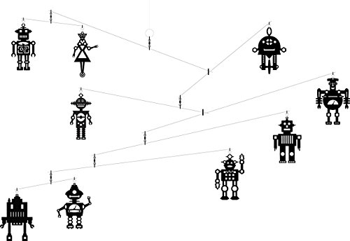 Hanging Art Mobile - Black Retro Robots by Futura Mobiles