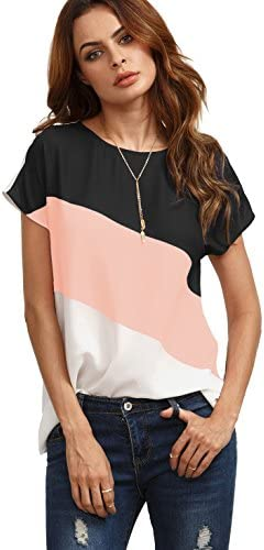 Romwe Women's Color Block Blouse Short Sleeve Casual Tee Shirts Tunic Tops