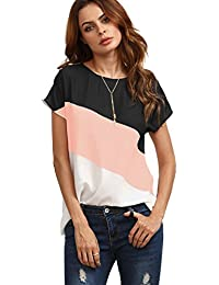 Women's Color Block Blouse Short Sleeve Casual Tee Shirts...