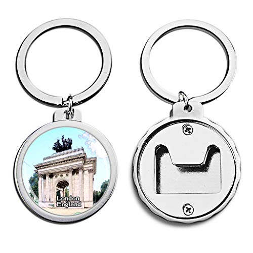 UK United Kingdom Bottle Opener Keychain London Hyde Park Britain Mini Bottle Cap Opener Keychain England Creative Crayon Drawing Crystal Stainless Steel Key Chain Travel Souvenirs