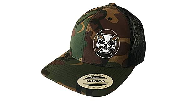 b9b4431b75ce7 Demons Behind Me Inspirational Clothing   Apparel Flexfit Camo   Black  Embroidered Classic Trucker Hat at Amazon Men s Clothing store