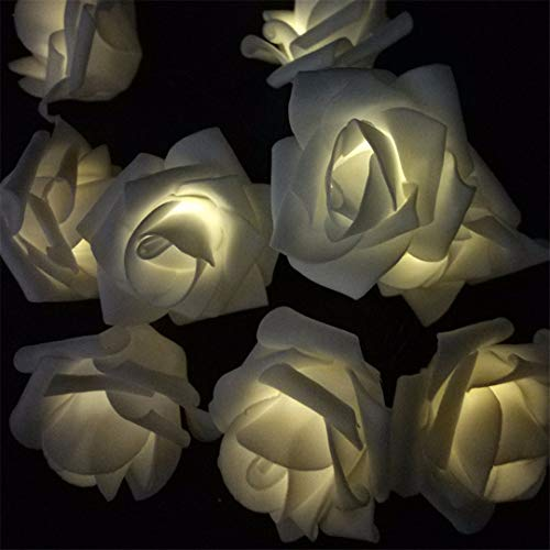 BGFHDSD Solar LED Wedding Party Rose String Lights 4.8M-12M Warm White Blue Multicolor Options Creative Design for Holiday Decor. Warm White 10m 60roses by BGFHDSD (Image #5)