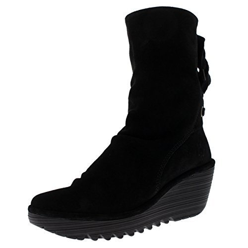 FLY London Womens Yada Wedge Heel Oil Suede Black Winter Mid Calf Boots - Black - 6