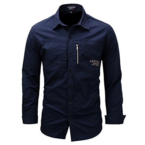 K-Men Men's Navy Blue Long Sleeve Cotton Travel Safari Passport Work Shirts XXL