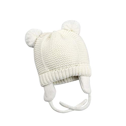 Zhtrade Baby Hat Winter Newborn Hats for Girls Boys- Infant Toddler Kids Beanie Soft Warm Knit Earflaps Hat White,6-12 Months