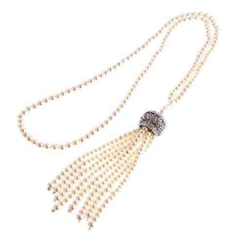 KINGDE Wedding Great Gatsby 1920'S Pearl Flapper Charleston Costume Gift Deluxe Daisy Necklace(KFN99) ()