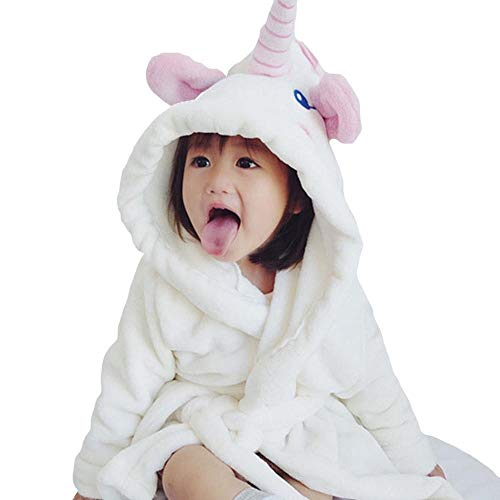 FIged Baby Bathrobe, White Pajamas Clothes Cute Casual Elephant Hooded Sleepwear (White, 3T-4T)
