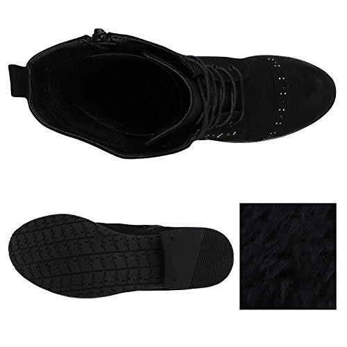 Stiefelparadies Damen Stiefeletten Zipper Leicht Gefütterte Stiefel Schnürstiefeletten Wildleder-Optik Damenschuhe Übergrößen Modische Boots Flandell Schwarz Strasssteine