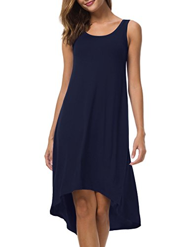 VOBCTY Super Soft Summer Beach Casual High Low Hem Sleeveless Dress (Large, Navy)