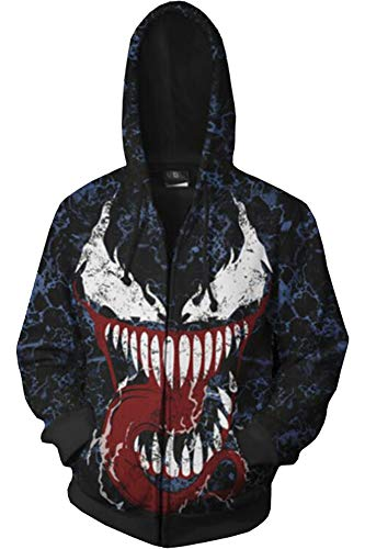 BeautifulTimes Super Hero Hoodie Venom Jacket Sweatshirt Halloween Costume Top Suit Two Colors -