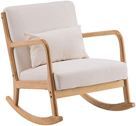 UHBGT Fabric Rocking Chair,Wooden Single Sofa - the best living room chair for the money
