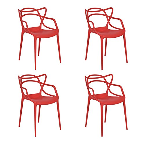 Giantex Set of 4 Masters Dining Chairs Modern Design Armchair Indoor Outdoor Stackable (Red)