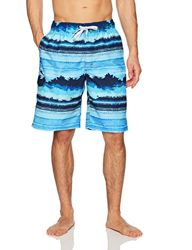 Full Elastic Swim Trunks - Kanu Surf Men's Banzai Stripe Quick Dry Beach Board Shorts Swim Trunk, Navy, Medium