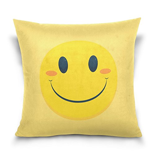 Smiley Cute Square (Holisaky Cute Yellow Smiley Decorative Square Throw Pillow Covers Cases Home Décor for Bed Sofa Couch Car 16 x 16 inch)