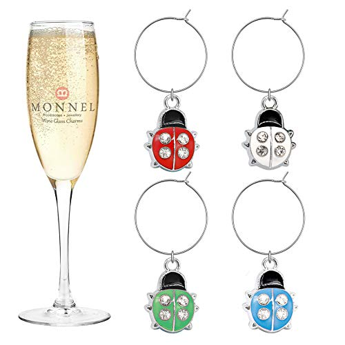 P402 Cute 4-Color Ladybugs Wine Charms Glass Marker for Party with Velvet Bag- Set of 4