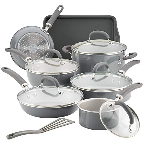 Rachael Ray 12148 13-Piece Aluminum Cookware Set, Gray Shimmer